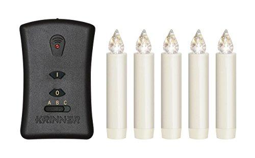 Lumix Classic Mini S Deluxe elfenbein, Basis-Set, 5 Kerzen, 7 Batterien, 1 Fernbedienung, Weihnachts-Beleuchtung von Krinner