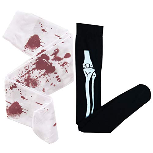 KESYOO 2 Paar Halloween Knochen Strümpfe Blut Strumpf Lustige Schädel Lange Socken Beängstigend Dekor Cosplay Horror Strumpf Party