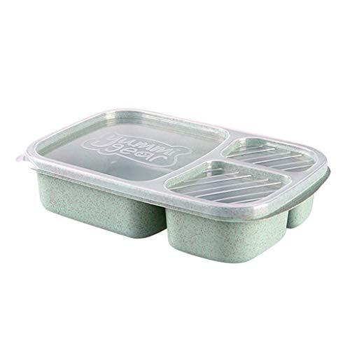 JUSTSELLLunch Box Bento   Contenitori per pasti   Prova di Tenuta   Scatole riutilizzabili in plastica a 3 Scomparti per contenitori per Alimenti per Bambini e Adulti