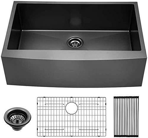 Lordear 30 inch Farmhouse Kitchen Sink Gunmetal Matte Black Apron Front 16 Gauge Stainless Steel Deep Single Bowl Kitchen Farm Sinks