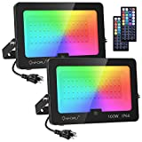Onforu 2 Pack 100W RGB Flood Light, LED Color Changing Floodlight with 44 Keys Remote, IP66 Waterproof Outdoor Dimmable Wall Washer Light with 20 Colors, Timing and Memory Function for Garden,Indoor