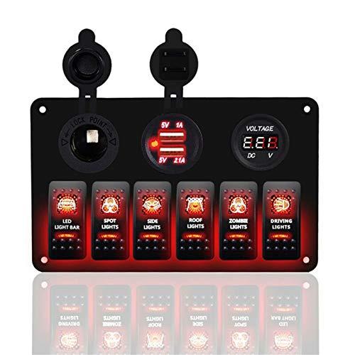 KAOLALI Panel de Interruptores Basculantes Interruptor de Palanca con 3/6/8 Interruptores + Toma de Mechero 12V + Voltimetro + 3,1A Doble Cargador USB para Campera Furgoneta Caravana Barco Coc