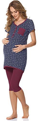 Bellivalini Damen Umstands Pyjama mit Stillfunktion BLV50-126 (Navy Sterne/Wein, S)