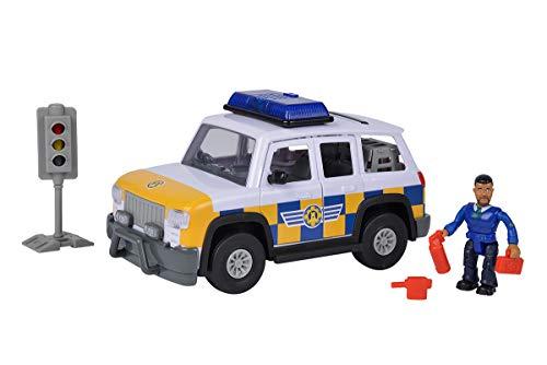 Simba 109251096 - Feuerwehrmann Sam Polizei Auto 4x4 mit Malcom Figur, Mit Originalsound, Türen und Kofferraum zum Öffnen, 19cm, Für Kinder ab 3 Jahren