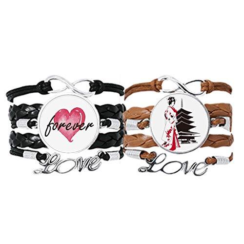Bestchong Japón estilo japonés kimono pulsera de la muchacha correa de mano cuerda de cuero Forever Love pulsera doble conjunto