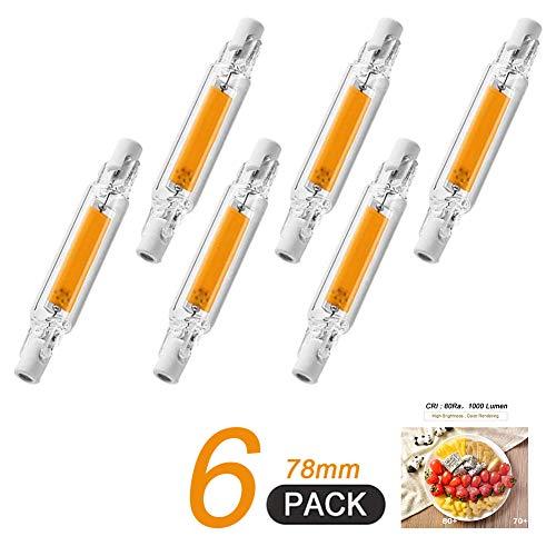 COMY R7S Bombilla LED 78mm 10W, 1000Lm, Tipo J,Lámpara De Reflector Lineal De Ahorro De Energía Equivalente A Lámpara Halógena De 100W, Paquete De 6
