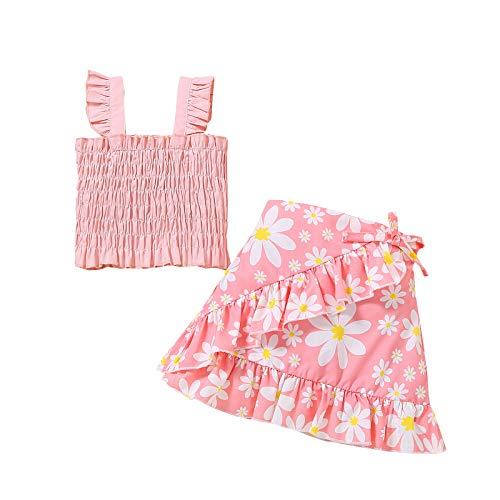 Toddler Baby Girl Sleeveless Elastic Ruffle Tube Tops Floral Polka Dot Zebra Skirts Summer 2Pcs Outfits Dress (Pink,3-4T,)