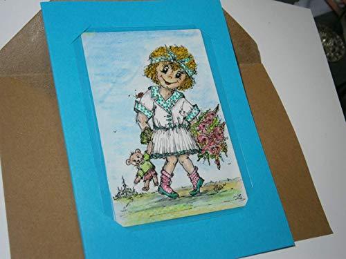 Blumengrüße Mädchen mit Teddy handgemalt Minibild 80 x 110 Millimeter Aquarell laminiert Karte Lesezeichen Geschenk Grußkarte