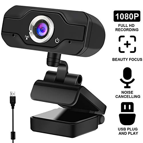USB 2.0 1080P HD Webcam Web Camera Video with Mic Microphone Clip-on for MSN Skype Desktops Computer PC Android TV (S60 1080P)