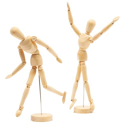 Bright Creations Art Mannequin 2 Pack - Wooden Sectioned Posable Body Model - 12 Inch