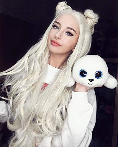 Cosswigs Platinum Blonde Lace Front Wig Glueless Long Wavy Heat Resistant Synthetic Blonde Wigs for Christmas Half Hand Tied #613 24inches