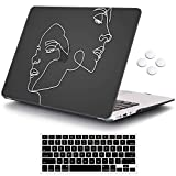 iCasso MacBook Air 13 inch Case (Release 2010-2017 Older Version), Hard Shell Plastic Protective Case & Keyboard Cover Only Compatible with MacBook Air 13 Inch Model A1369/A1466 - Face Sketch