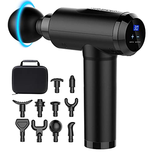 Massage Gun Deep Tissue Percussion Muscle Massager for Athletes,Handheld Body Back Muscle Massager with 10 Massage Heads and LCD Touch Screen