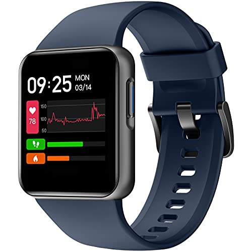 Smart Watch, HolaDream 1.4 Inch HD Touch Screen Smartwatch Fitness Tracker for Android & iOS Compatible 5ATM Waterproof Heart Rate/Sleep/Calorie/Blood Oxygen Monitor for Women Man (Blue)