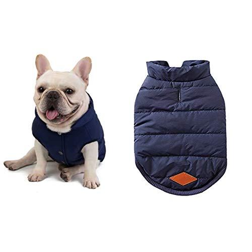 Meioro Hund Warme Jacke Hundebekleidung Hund Gemütliche Jacke Winter Gefüttert Mantel Hund Katze Kleidung Warme Französisch Bulldog Mops Hund Kleidung Weste (S, Blau)