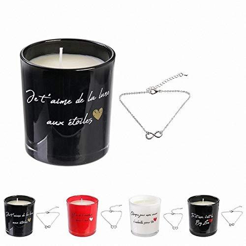 abrakado.nath 1 Bougie parfumee avec Bijoux Collier Amour Love Fleur de Printemps Fete evenement