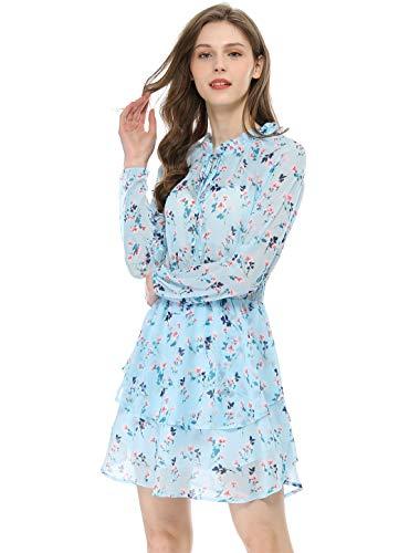 Allegra K Damen Langarm V Ausschnitt Rüschen Blumen Minikleid Kleid Hellblau M