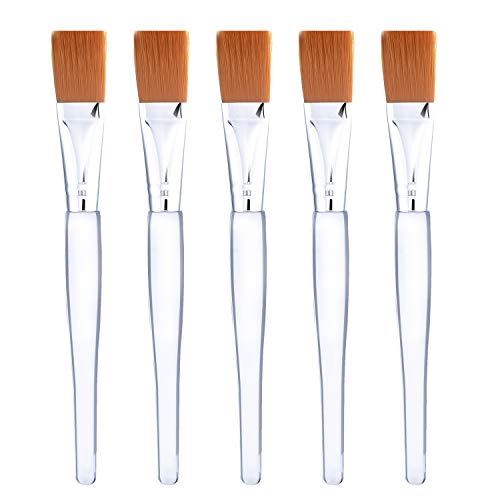 Facial Mask Brush Makeup Brushes Cosmetic Tools with Clear Plastic Handle, 5 Pack (Silver with Yellow Brush)