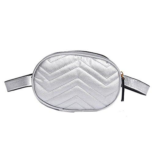 VJGOAL Damen Bauchtasche, Damen Mode Solide Reine Farbe Leder Messenger Schulter Urlaub Arbeit Brust kleine Taschen (Silber)