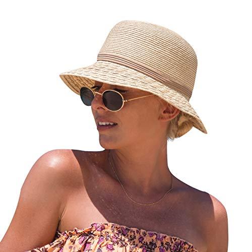 Amazon Brand - Hikaro Sun Hats Women UPF 50 Straw Sun Hat Wide Brim Beach...