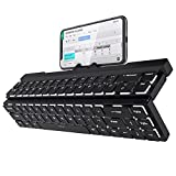 RK ROYAL KLUDGE RK925 68 Keys 60% Foldable Mechanical Keyboard with Built-in Stand Holder, Wireless Bluetooth Mechanical Keyboard with White Backlit, Latest Low Profile Clicky White Switches
