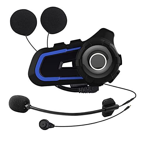 AIHOUSE Auriculares de Bluetooth de la Motocicleta, Casco de Moto Impermeable Intercomunicador a 3 Jinetes 1000m Sistema de comunicación de Casco Soporta Manos Libres/música estéreo/FM / MP3