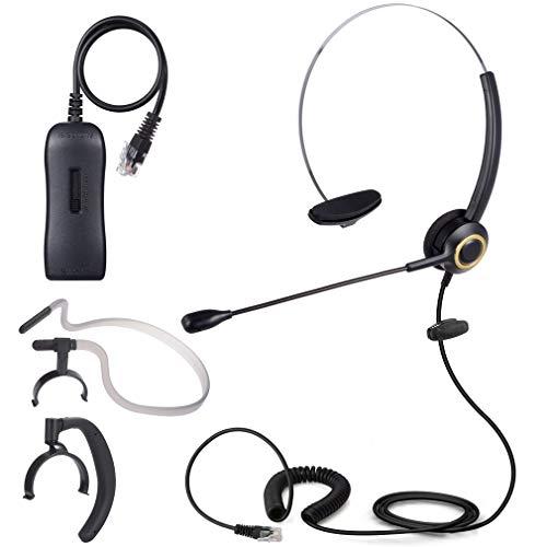 PChero 3 en 1 Auriculares Teléfono Fijo Monoaurale RJ9 con micrófono y Adaptador, con cancelación de Ruido Ideal para oficinas, centros de Llamadas y operadores de telecomunicaciones