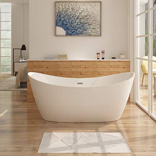 i-flair Freistehende Badewanne ALMERE Design - aus Acryl in Weiß – verschiedene Größen (150x75 cm)