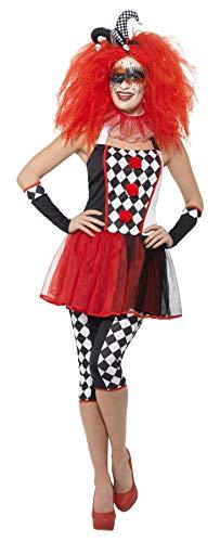 Smiffys 44733L - Damen Twisted Harlekin Kostüm, Größe: 44-46, schwarz/rot