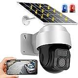 AINSS WiFi IP Cámara Vigilancia Exterior PTZ Cámara de Panel Solar con Batería Recargable de 12000mAh HD1080P,Detección de Movimiento,Vision Nocturna,Audio Bidireccional,Impermeable (WiFi-Cámara)
