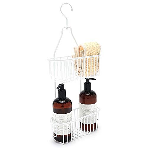 Simplywire - Organizador de ducha colgante de 2 niveles, resistente al óxido, color blanco