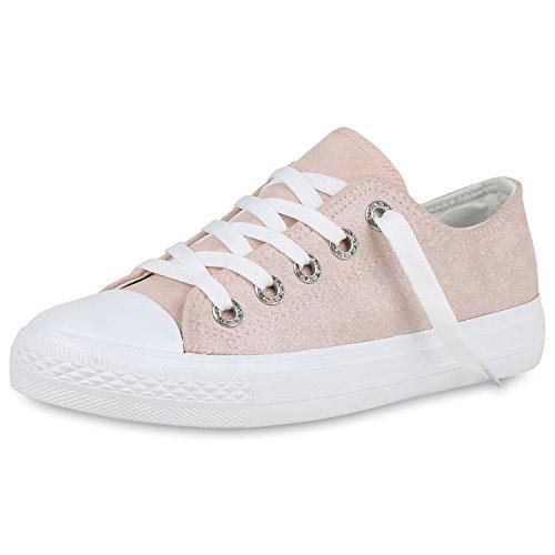 SCARPE VITA Damen Sneaker Low Glitzer Turnschuhe Freizeit Schuhe Schnürer 162454 Rosa Weiss 38