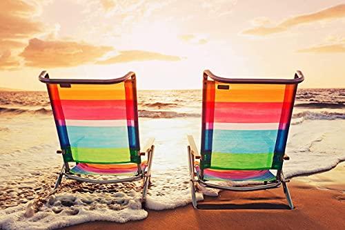 Erwachsene klassisches Puzzle 1000 Stück farbige Lounge Stühle am Meer einzigartige moderne Heim dekoration Geschenk 26x38cm