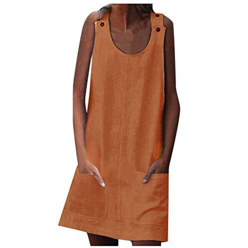EUCoo Vestido de túnica sin mangas con cuello redondo para mujer con bolsillos