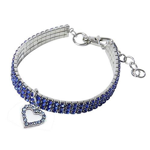 MoYouno Collare per Collana con Brillanti Cani, Collare con Strass in Cristallo con Diamanti per Animali Domestici con Collare Elastico con Pendente a Forma di Cuore per Cani di Piccola Taglia (Blue)