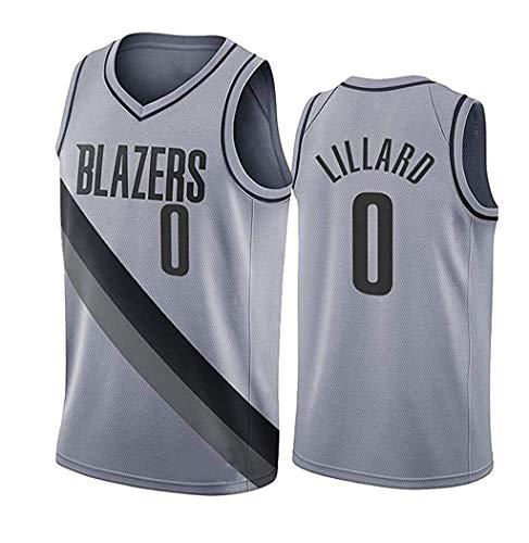 LSJ-ZZ Jersey de Baloncesto NBA Portland Trail Blazers # 0 Damian Lillard Jersey Bordado Retro, Tela Fresca Transpirable, Uniforme de fanático de Baloncesto,Gris,L