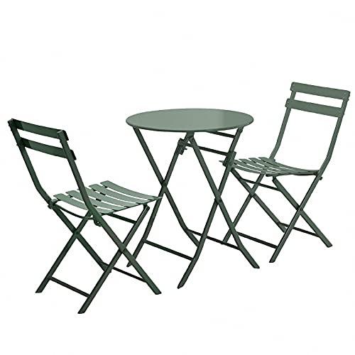 BIANGEY Bügeleisen-Faltgarten-Möbel-Set, Bistroset 3 Stück, 2 Stühle und 1 Tisch, für Gärten, Terrassen, Bars, Villen, Strände, Poolsies,Olive Green Circle