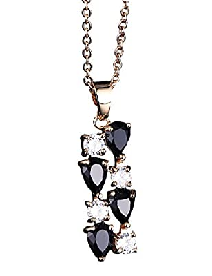 Hottime Women Rose Golden Plated Necklace Black and White Zircon Pendants Wife Friendship Necklaces Water Drop Shaped