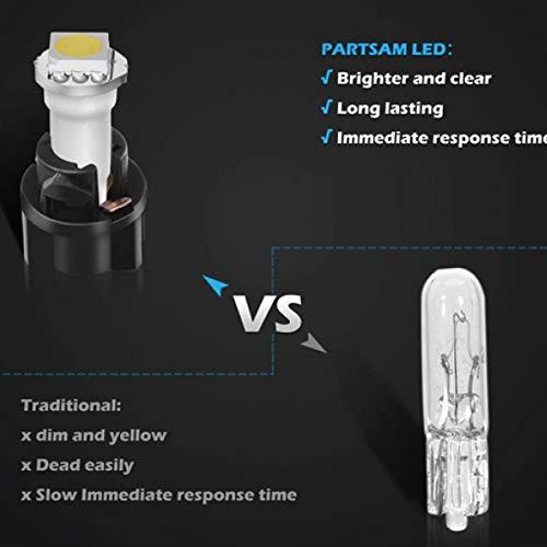 Jtech 10 x T5, 5050 SMD LED White Instrument Panel Dash Light Bulb 74 17 18 37 70 2721