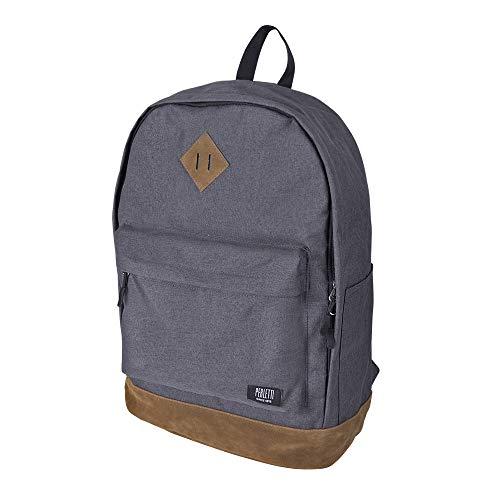 PERLETTI Rucksack Männer Frauen Wasserdicht - Schule Daypack mit Fronttasche für Laptop bis 15,6 Zoll - Grau und Schwarz Tagesrucksack mit braunem Wildleder Details - 45x32x17 cm
