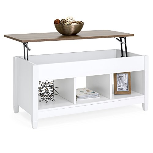 Best Choice Products Modern Home Coffee Table Furniture w/Hidden Storage and Lift Tabletop - White/Brown