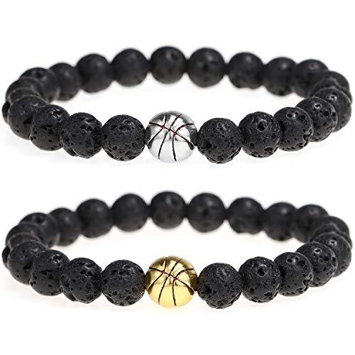 Suyi Pulsera De Cuentas De Roca De Lava Baloncesto Nature Stone Bracelet Gift para Hombres Niños 2 Pieces Set