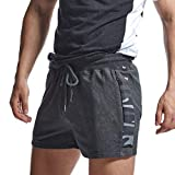 AIMPACT Short de rugby en jersey de coton pour homme - Confortable - Taille élastique - Avec poche zippée - Gris - S