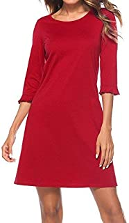 HOMEYEE Women's 3/4 Sleeve Pleated Casual Dress T028