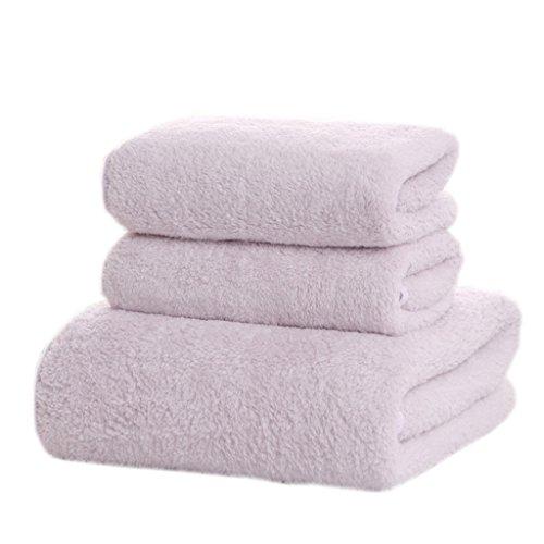 Serviettes de bain en microfibre de serviette de corail de velours (1 serviette de bain + 2 serviettes) ( Couleur : Blanc )
