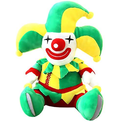 NUOBESTY Kinder Clown Plüsch Spielzeug Figur Puppe Entzückende Ausgestopfte Plüschtier Kinder Kissen Spielzeug Halloween Party Dekoration 28Cm