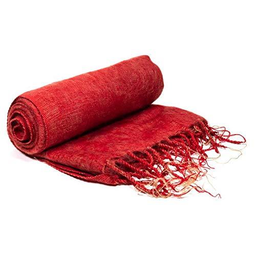 Yamkas Toalla de meditación (algodón, 200 x 80 cm), color rojo