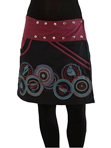 PUREWONDER Damen Wickelrock Baumwolle Rock mit Tasche sk110 Schwarz Einheitsgröße verstellbar