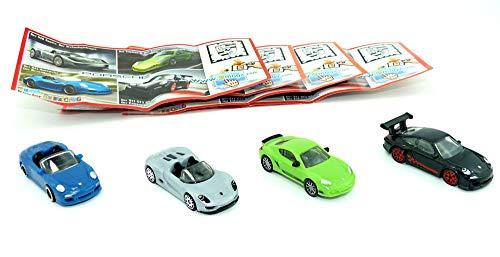 Porsche Set Modellautos von 2012. 2 Kollektion aus dem Überraschungsei 4 Porsche-Modelle im Maßstab 1:87: GT3, Speedster, Spyder und Cayman. Limitierte Sonderedition.