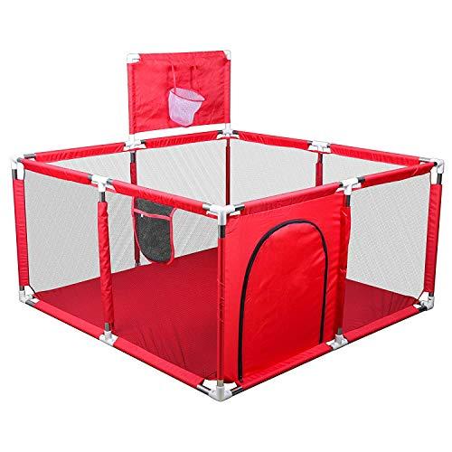 uyoyous Baby Laufgitter Faltbar Laufgitter Große Aktivität Laufstall mit Atmungsaktiv Mesh und Runde Reißverschluss Tür Geeignet für Baby Kleinkinder Laufgitter 128(B) x 66(H) cm - rot